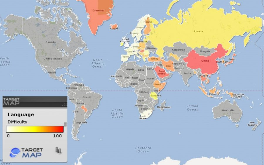 Language difficulty for Anglophones on a globe