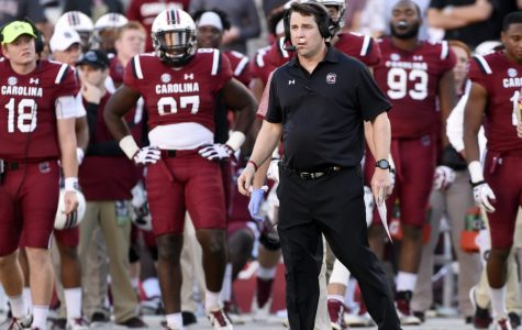 COLUMBIA, SC - OCTOBER 9: Head coach Will Muschamp of the South Carolina Gamecocks waits for his team on sidelines during a timeout by the Georgia Bulldogs during the fourth quarter on October 9, 2016 at Williams-Brice Stadium in Columbia, South Carolina.  (Photo by Todd Bennett/GettyImages)
