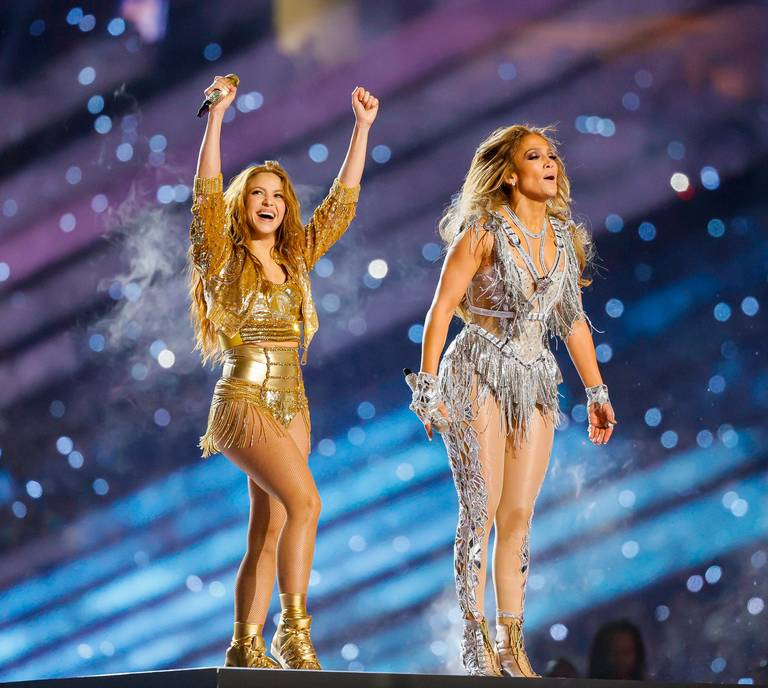Shakira and Lopez's at the end of their performance.
