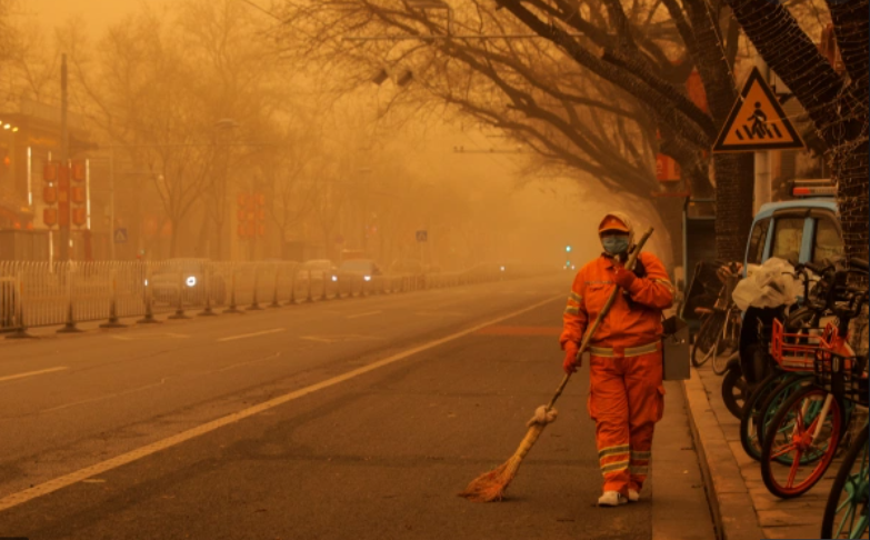 China's capital city woke up to yellow skies on Monday as the biggest sandstorm the country has seen in a decade swept through it with tremendous health air quality concerns